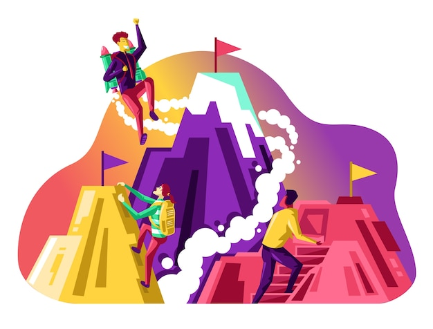 Illustration de la concurrence commerciale, personne d'affaires escalade leur propre montagne pour représenter leurs objectifs.