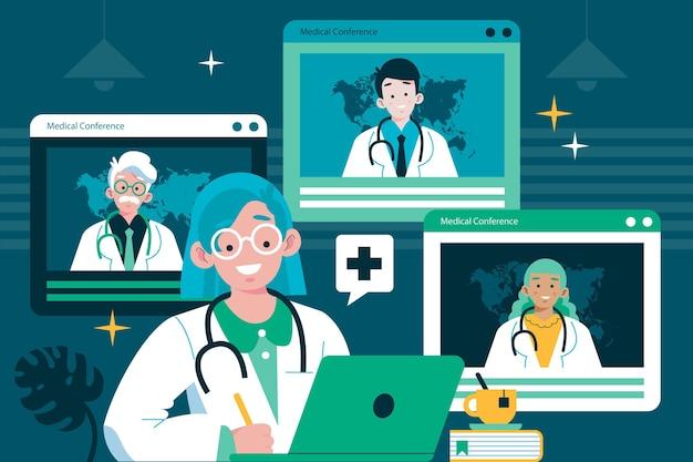 Illustration de conférence médicale en ligne plat organique