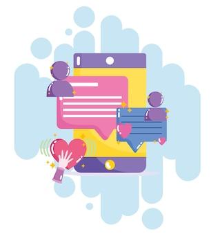 Illustration de connexion de texte de chat de message de smartphone de médias sociaux