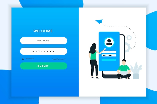 Illustration de connexion utilisateur avec un personnage à deux personnes