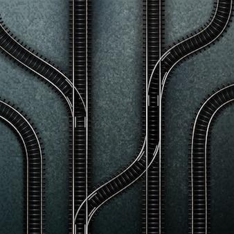 Illustration des connexions de plusieurs voies ferrées