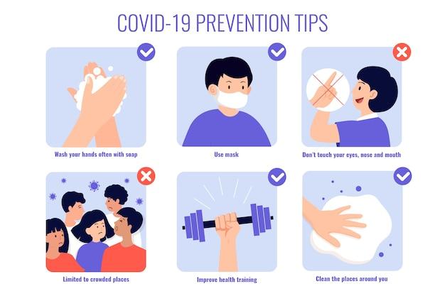 Illustration des conseils de protection contre les coronavirus