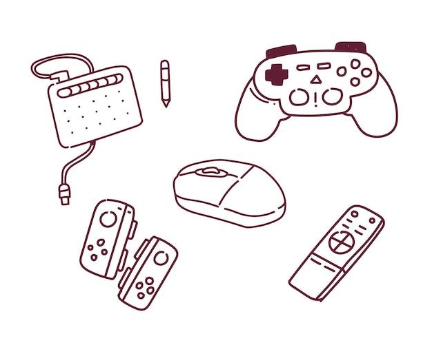 Illustration de la console de jeu. style de griffonnage de console de jeu