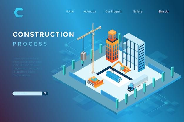 Illustration de la construction de bâtiments dans un style 3d isométrique