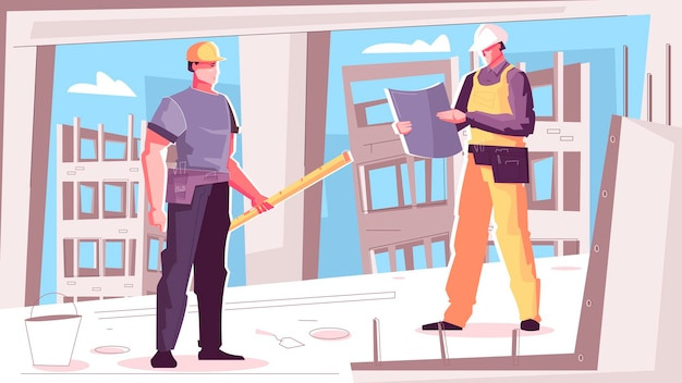 Illustration de la construction de bâtiments avec deux travailleurs de la construction lisant des plans