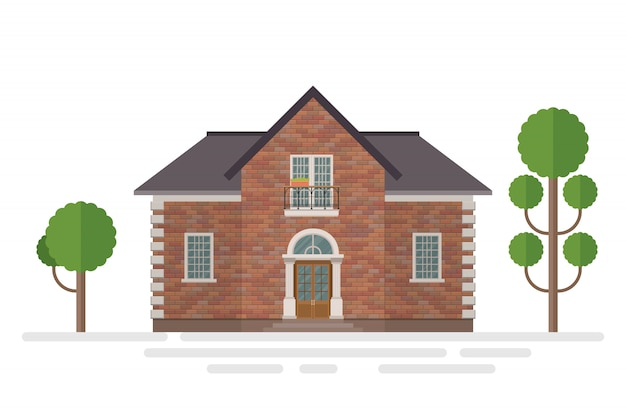 Illustration de construction de maison en brique isolée sur blanc