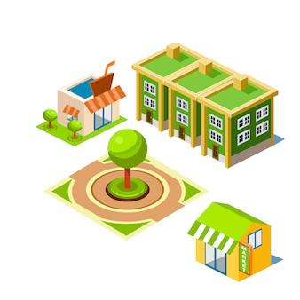 Illustration de construction de maison et parc
