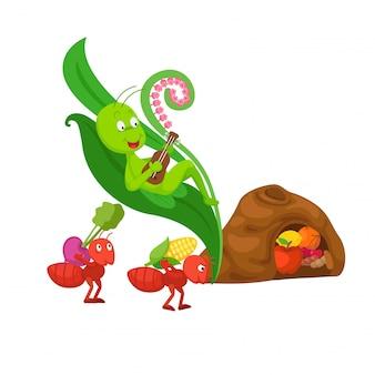 Illustration de conte de fées de la fourmi et de la sauterelle