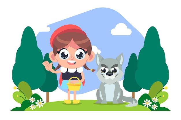 Illustration de conte de petit chaperon rouge de dessin animé