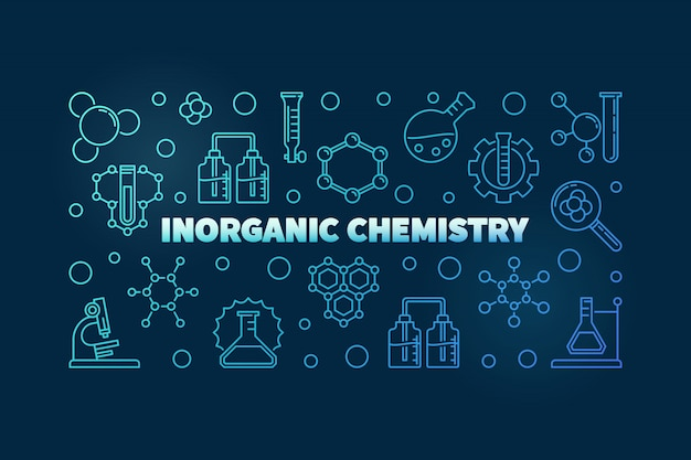 Illustration de contour bleu concept chimie inorganique