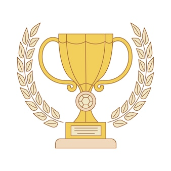 Illustration de contour de dessin animé de trophée de la coupe d'or isolée sur blanc