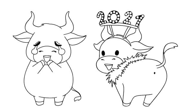 Illustration de contour de deux différentes petites vaches portant des costumes de noël pour cahier de coloriage