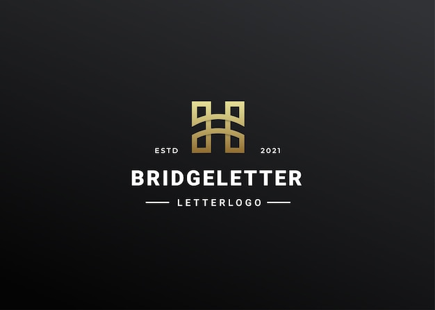 Illustration de contour lettre h logo icône style moderne