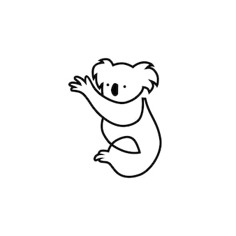 Illustration de contour ligne icône koala logo vector