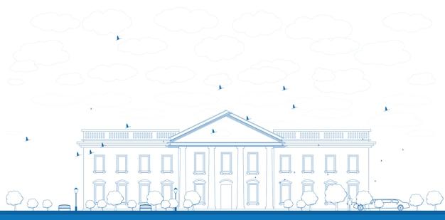 Illustration de contour de la maison blanche à washington dc