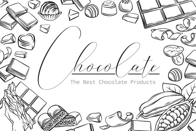 Illustration de contour de mise en page de produits au chocolat dans un style rétro