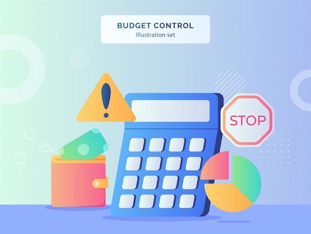 Illustration de contrôle budgétaire définie la calculatrice de l'argent mis dans le graphique à secteurs de portefeuille panneau d'avertissement d'arrêt de la circulation