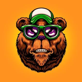 Illustration cool bear head