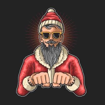 Illustration cool du père noël