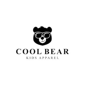 Illustration cool silhouette animale ours utiliser un personnage de conception graphique de vecteur de lunettes