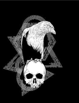 Illustration de corbeau et de crâne de gravure