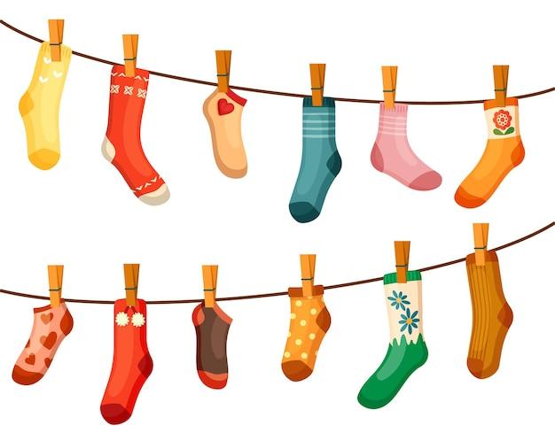 Illustration de corde de séchage de chaussettes colorées