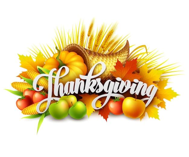 Illustration d'une corne d'abondance de thanksgiving pleine de fruits et légumes récoltés. vecteur eps 10