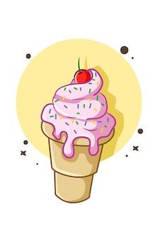 Illustration de cornet de crème glacée