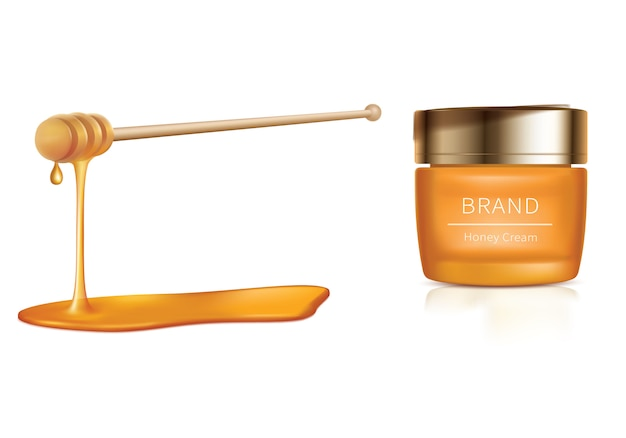 Illustration cosmétique avec des cosmétiques au miel