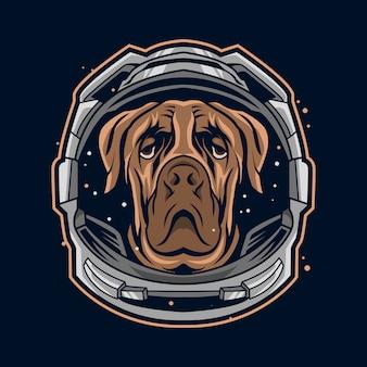 Illustration de costume de casque d'astronaute de chien