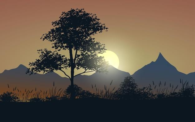 Illustration de coucher de soleil avec arbre et montagne