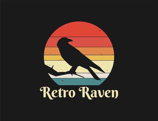 Illustration de coucher de soleil oiseau corbeau rétro avec style en détresse