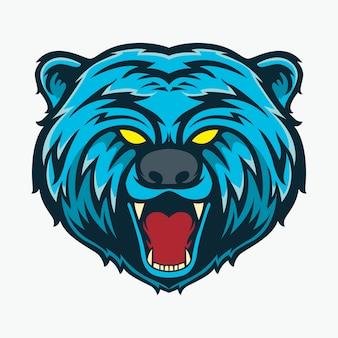 Illustration de couleur bleu tête d'ours bébé