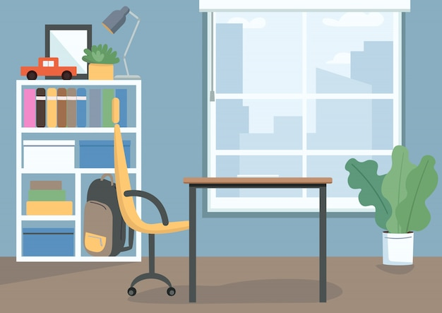 Illustration de couleur de chambre pour enfants. chambre d'enfants avec des livres et des jouets sur des étagères. bureau et chaise comme lieu d'étude. intérieur de dessin animé de salon avec décor sur fond