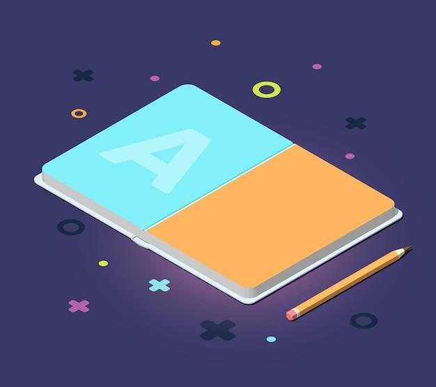 Illustration couleur créative du livre d'ouverture isométrique avec crayon et éléments décoratifs