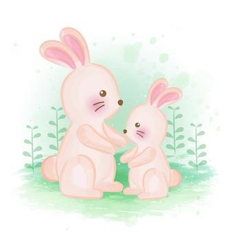 Illustration de couleur de l'eau de lapin mignon.