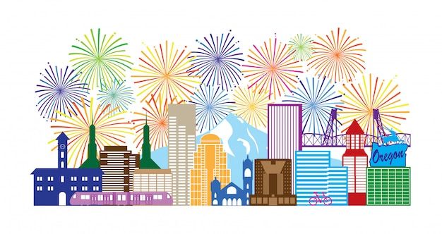 Illustration de couleur de feux d'artifice de portland oregon skyline