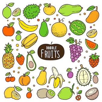 Illustration couleur fruits de dessin animé