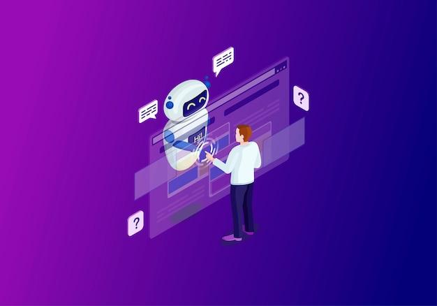 Illustration couleur isométrique chatbot