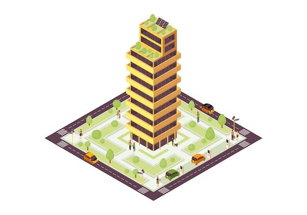 Illustration couleur isométrique eco city. bâtiment durable avec grille solaire, infographie de l'arbre. concept 3d de maison verte, durable et écologique. consommation d'énergie renouvelable. élément de conception isolé
