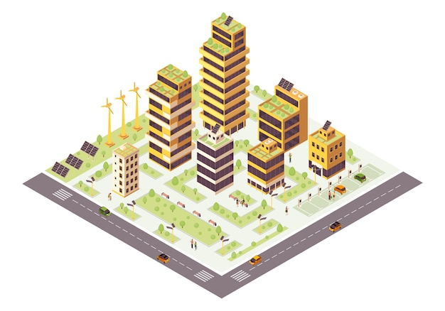Illustration couleur isométrique eco city. infographie de la ville intelligente. production de ressources renouvelables. concept de bâtiments verts. environnement écologique et durable. élément