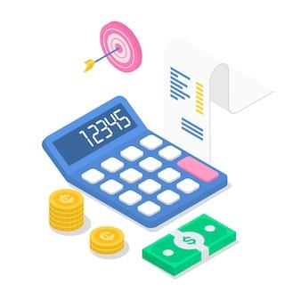 Illustration couleur isométrique des revenus. rapport financier annuel. comptabilité et audit. calcul du revenu. investissement. planning d'affaires. calcul de la taxe. concept 3d isolé sur fond blanc