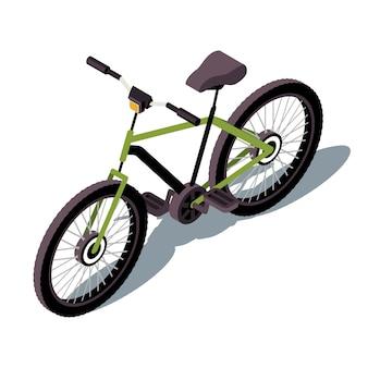 Illustration de couleur isométrique de vélo. infographie des transports urbains. vélo à pédales. véhicule à deux roues. activité en plein air. mode de vie sain. concept 3d de transport isolé sur fond blanc