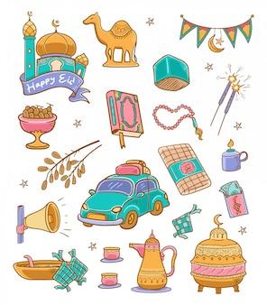 Illustration de couleur joyeux eid doodle