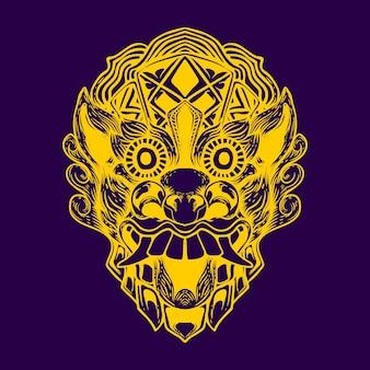 Illustration de couleur néon face barong