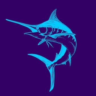 Illustration de couleur néon marlin
