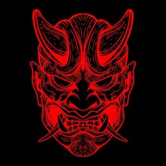 Illustration de couleur néon masque oni
