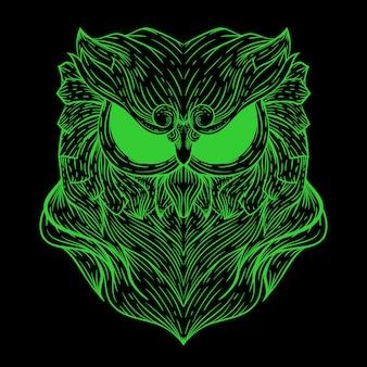 Illustration de couleur néon visage de hibou