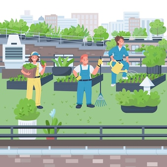 Illustration de couleur plat femme jardiniers