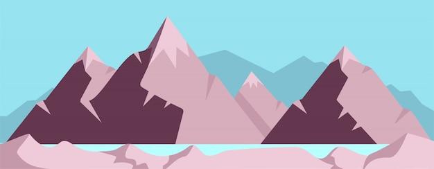 Illustration de couleur plat haute montagne